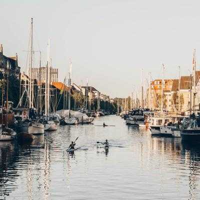 Sailing through Christianshavns Canal in Copenhagen