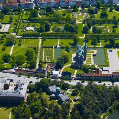Arial shot of King's Garden and Rosenborg Castle in central Copenhagen.